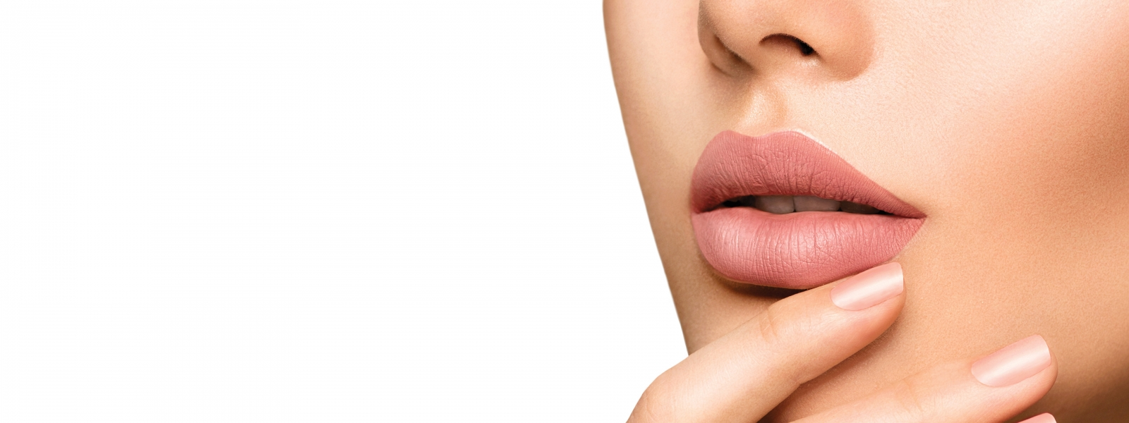 Perfect woman's sensual lips with fashion natural beige matte li